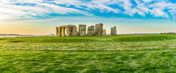 Morning view of Stonehenge in winter England