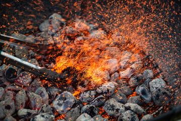 Background of burning hot coals.