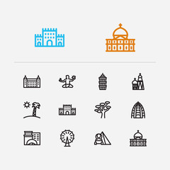 Travel icons set: florida, detroit, petersburg and russia, barossa, pyramid set popular traveling cities with traditional vector icon illustration for app web mobile UI logo desing.