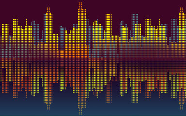 night and the city- background graphic with buildings and reflection in the warter