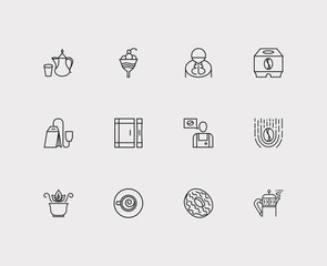 Coffee icons set. Coffee and coffee icons with cocktail, take away and teabag. Set of elements including person for web app logo UI design.