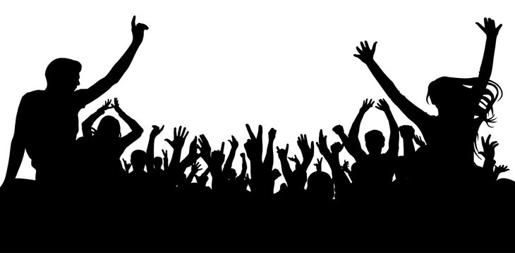 Cheerful people crowd, silhouette. Party, applause. Dancing at the disco, concert