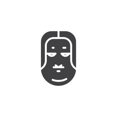 Ko omote mask vector icon. filled flat sign for mobile concept and web design. Japanese Okame mask simple solid icon. Symbol, logo illustration. Pixel perfect vector graphics