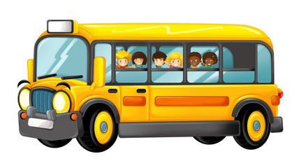 funny looking cartoon yellow bus with pupils - illustration for children