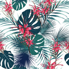 Vector seamless tropical pattern, vivid tropic foliage, with red protea flowers  in bloom. Modern bright summer print design. White background.
