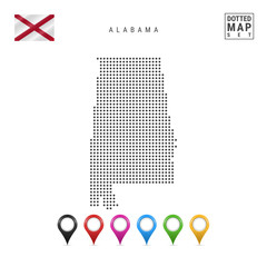 Dots Pattern Vector Map of Alabama. Stylized Silhouette of Alabama. Flag of Alabama. Set of Multicolored Map Markers