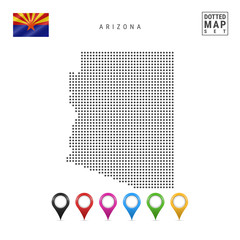 Dots Pattern Vector Map of Arizona. Stylized Silhouette of Arizona. Flag of Arizona. Set of Multicolored Map Markers