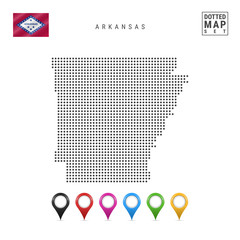 Dots Pattern Vector Map of Arkansas. Stylized Silhouette of Arkansas. Flag of Arkansas. Set of Multicolored Map Markers