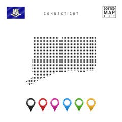 Dots Pattern Vector Map of Connecticut. Stylized Silhouette of Connecticut. Flag of Connecticut. Set of Map Markers