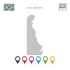 Dots Pattern Vector Map of Delaware. Stylized Silhouette of Delaware. Flag of Delaware. Set of Multicolored Map Markers