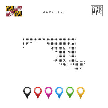 Dots Pattern Vector Map of Maryland. Stylized Silhouette of Maryland. Flag of Maryland. Set of Multicolored Map Markers
