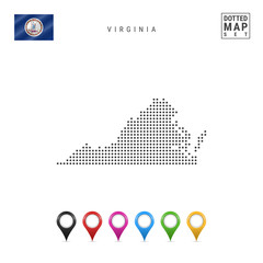 Dots Pattern Vector Map of Virginia. Stylized Silhouette of Virginia. Flag of Virginia. Set of Multicolored Map Markers