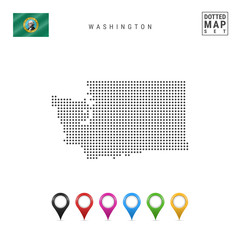 Dots Pattern Vector Map of Washington. Stylized Silhouette of Washington. Flag of Washington. Multicolored Map Markers