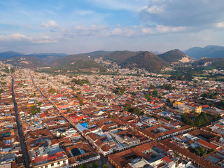 Aerial shot of a town in Mexico