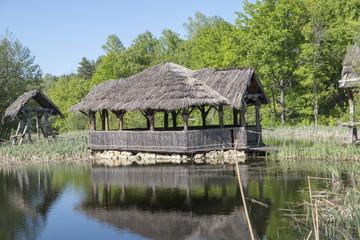 hut on stilts on the water