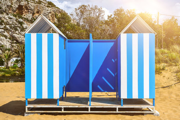 Beach Huts. Coloured,