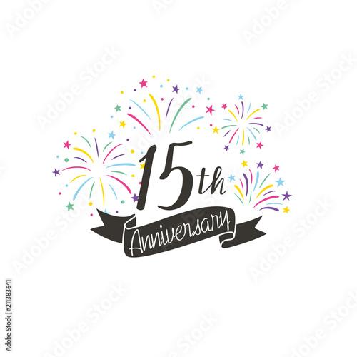 anniversary logo template with fireworks fotolia com の ストック画像