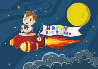Boy riding a rocket with a birthday banner
