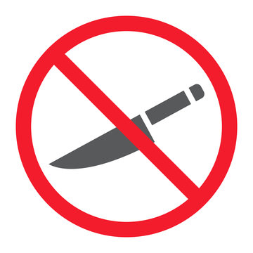 No sharp glyph icon, prohibition and forbidden, no knife sign vector graphics, a solid pattern on a white background, eps 10.