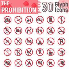 Prohibition glyph icon set, forbidden signs
