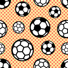 Seamless vector pattern with soccer balls on background with circles.