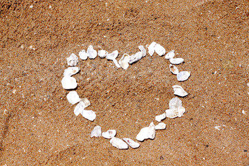 Heart Made from Shell on Sand