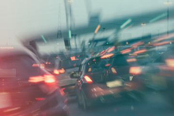 row of cars with traffic jam