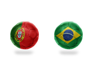 football balls with national flags of brazil and portugal.