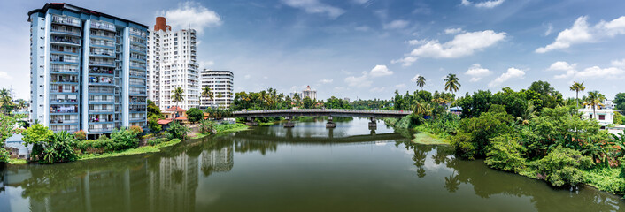 Panoramic river view and cityscapes of Kerala, India.