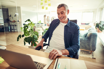 Smiling mature businessman sitting at his office desk working on