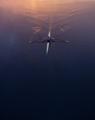 rowing in morning light