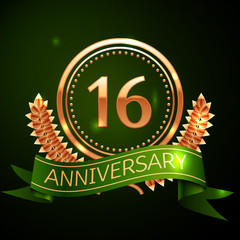 Realistic Sixteen Years Anniversary Celebration Design with Golden Ring and Laurel Wreath, green ribbon on green background. Colorful Vector template elements for your birthday celebrating party