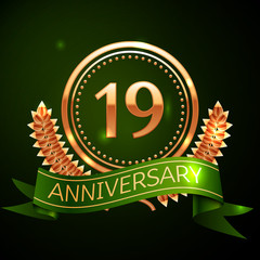 Realistic Nineteen Years Anniversary Celebration Design with Golden Ring and Laurel Wreath, green ribbon on green background. Colorful Vector template elements for your birthday celebrating party