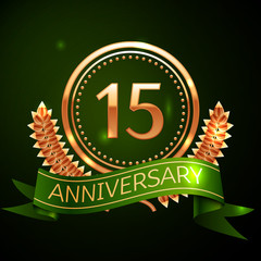 Realistic Fifteen Years Anniversary Celebration Design with Golden Ring and Laurel Wreath, green ribbon on green background. Colorful Vector template elements for your birthday celebrating party
