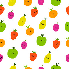 Cute fruits seamless pattern