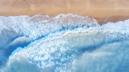 Foto auf Acrylglas Luftaufnahme Aerial view on the waves. Beautiful natural seascape from air