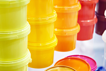 Color plastic containers