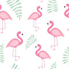 Tuinposter Flamingo Cute Seamless Flamingo Pattern Vector Illustration