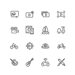 Hobby icons. Set of  line icons. Webinar, music, art. Hobby concept. Vector illustration can be used for topics like leisure, activity, movie.