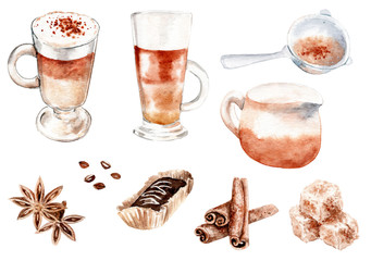 watercolor drawing coffee set
