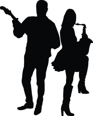 musical duet with guitar and saxophone