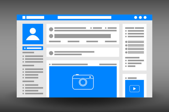 Web page user interface template. Social network website browser window. UI design in flat style. Vector illustration.