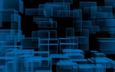 Blue and dark abstract digital and technology background. The pattern with repeating rectangles