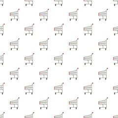 Shopping cart pattern seamless repeat in cartoon style vector illustration