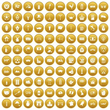 100 europe countries icons set in gold circle isolated on white vector illustration