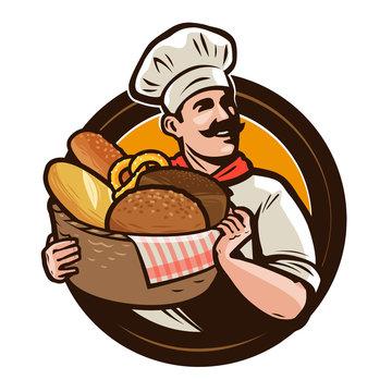 Bakery, bakehouse logo or label. Baker with a wicker basket of freshly baked bread. Vector illustration