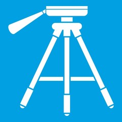 Tripod icon white isolated on blue background vector illustration