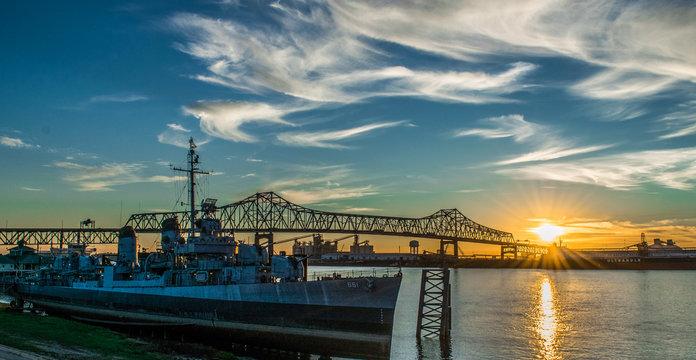 U.S.S Kidd and Mississippi River Bridge in Baton Rouge
