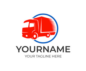 Logistics company and fast truck in circle, logo template. Cargo transportation, delivery of goods and auto transport, vector design, illustration