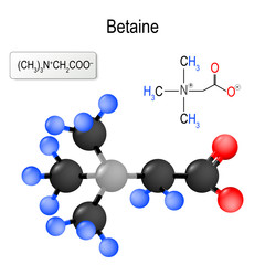 Betaine. Structure of a molecule.